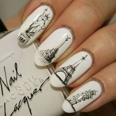 Nails, Leaning Tower of Pisa, Italy, Eiffel Tower, Paris, Statute of Liberty, New York, black and white, sketch