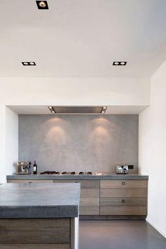Minimal wood & grey kitchen via Style Files: