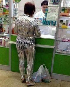 Tired of wearing Orange in lock`up? You can make this lovely jump suit entirely out of beer tops...