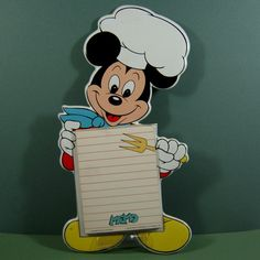 Collectible Vintage Vinyl Mickey Mouse in His Chef Hat Memo Pad from the 1970's