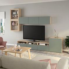 IKEA - BESTÅ TV storage combination/glass doors walnut effect light Tv Storage, Storage Spaces, Record Storage, Tv Bank, Ikea Tv, Ikea Design, Frame Shelf, Ikea Living Room, Ikea Family