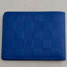 Authentic-Louis-Vuitton-Men-039-s-Blue-Infini-Leather-Slender-Damier-Wallet-NR