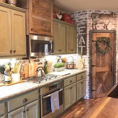 If you are thinking about building a rustic farmhouse kitchen. You should also consider getting the best rustic farmhouse kitchen design plans Rustic Kitchen Design, Farmhouse Kitchen Cabinets, Kitchen Cabinet Design, Kitchen Cupboards, Diy Kitchen, Rustic Cabinets, Awesome Kitchen, Kitchen Layout, Rustic Design