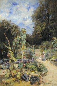 Marie Egner - Home Garden in the Wachau with Mother and Child | From a unique collection of landscape paintings at http://www.1stdibs.com/art/paintings/landscape-paintings/