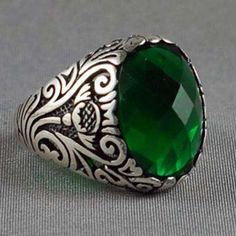Ottoman Design Men Ring With Beautiful Cut Green Jade 925K Sterling Silver. Via Etsy.