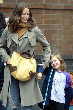 Christy Turlington And Daughter Walking Home From School