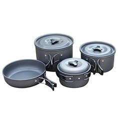 GlobalHouse Portable Nonstick Cooking Pot Set with Foldable Handles Camping Picnic Campfire Cookware Utensil >>> You can find out more details at the link of the image.
