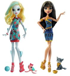 "Monster High ""Ghoul's Beast Pets"" Cleo De Nile & Lagoona BlueDoll w/ Pet"