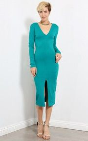 Long Sleeved V-neck Slit Midi Dress