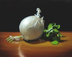 """Know Your Onions: White"" 8 x 10; oil on panel; Elizabeth McGhee"