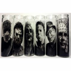 A transparent image of Freddy Krueger on an 8 inch prayer candle. Unscented white wax enclosed in a tall glass jar and designed to burn continuously up to 80 hours. Artwork by Chuck hodi Listing is for one candle. Horror Room, Horror House, Horror Decor, Goth Home Decor, Scary Movies, Funny Movies, Gothic House, Michael Myers, Nightmare On Elm Street