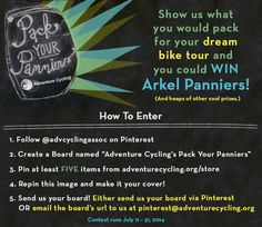 PACK YOUR PANNIERS! Show us what you would take on your dream bike tour and you could win a set of Arkel Panniers! #packyourpanniers @advcyclingassoc