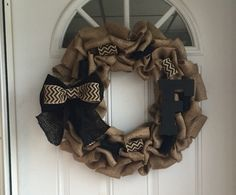 A personal favorite from my Etsy shop https://www.etsy.com/listing/228788609/monogrammed-burlap-wreath-chevron-wreath
