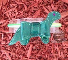 Dino Dinosaur Felt Bow Embellishment ITH In by Bobbin4appliques, $5.00