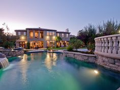 Waterfall and pool at twilight. Photo credit: Riley Jamison