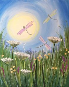 Dragonfly Meadow with wildflowers and cute whimsical sunset. Please also visit www.JustForYouPropheticArt.com for more colorful art you might like to pin. Thanks for looking!