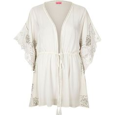River Island White embellished sheer kimono (676.785 IDR) ❤ liked on Polyvore featuring tops, caftans / cover-ups, swimwear / beachwear, white, women, white caftan, white kaftan, river island, embellished kaftan and sheer caftan
