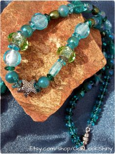 Under The Sea Starfish Glass Underwater Theme Bead Blue Teal Green Freshwater Pearl Bead Shiny Silver Charm Beaded Necklace