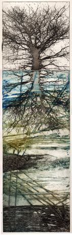Artist: Kerry Buck. Title: Above and Below. Description: Intaglio photopolymer plate over a collagraph