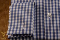 Blue Gingham Broadcloth Dress Shirt With Double Cuffs And White Buttons