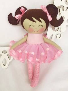 Ballerina Dancing Doll  Pink  Girl Toy  by SewManyPretties on Etsy