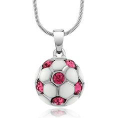 Purchase Gem Stone King Stunning White Soccer Ball with Pink Crystals Pendant and 16 inches Snake Chain from Gem Stone King on OpenSky. Share and compare all Jewelry. Soccer Necklace, Buy Gems, Pink Stone, Crystal Pendant, Soccer Ball, Jewelry Collection, Jewelry Design, Fashion Jewelry, Pendant Necklace