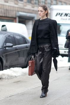 A leather pant crossed with sweats? Sign me up. (Theyskens Theory, New York Fashion Week Fall 2013, Vanity Fair)