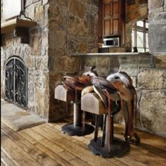 Saddle barstools in the barn or basement?  Because you cannot get rid of your well used and loved saddles.