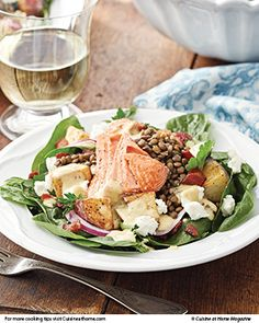 This Salmon and Lentil Spinach Salad is sure to become a favorite, especially alongside this Blueberry Shrub Punch.