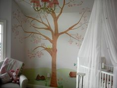 White and Green Decoration Painting Beautiful Nursery Room with Tree Wall Painting Decorating Inspiration and White Curtain Canopy Crib Design also Corner White Soft Chair for Adorable Decoration Painting of the Baby Nursery Room Designs