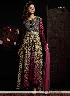 Credible Multicolor Georgette Anarkali Salwar Suit