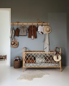Such a gorgeous room - love the rattan crib and the blue-grey walls Baby Bedroom, Baby Boy Rooms, Baby Room Decor, Kids Bedroom, Dark Nursery, Nursery Room, Brick Wall Decor, Blue Gray Bedroom, Deco Addict