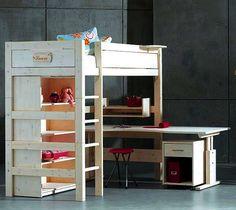 Cama y escritorio en L