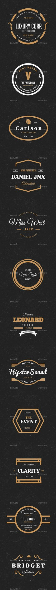 12 Vintage Logos Labels & Badges | Download: http://graphicriver.net/item/12-vintage-logos-labels-badges/9991408?ref=ksioks