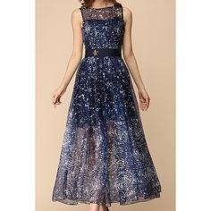 Print Star Embellished Scoop Collar Sleeveless Chiffon Trendy Style Women's Sundress, PURPLISH BLUE, S in Maxi Dresses | DressLily.com