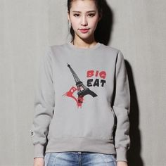 Eiffel Tower sweatshirt for girls gray college crew neck sweatshirts