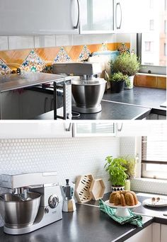 Upgrade your ugly kitchen backsplash on the cheap using peel-and-stick gel tiles. Ugly Kitchen, Kitchen Redo, Kitchen Backsplash, Kitchen Dining, Kitchen Remodel, Kitchen Cabinets, Peel And Stick Tile, Stick On Tiles, Stick Tile Backsplash