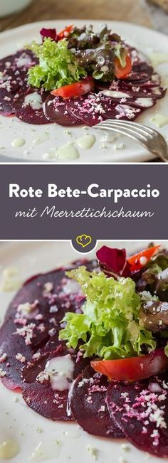 Süßliche Rote Bete, knackiger Salat und scharfer Meerrettich bilden in dieser kleinen, veganen Vorspeise eine traumhaft leckere Kombi.