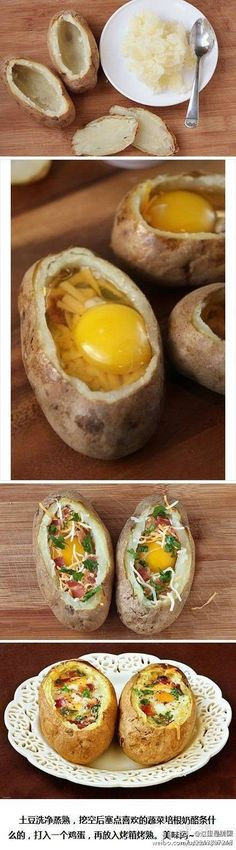 ~no link but it looks easy enough. scoop out potato innards add a bit of shredded cheese then the egg then more cheese herbs bacon bits put in oven and sprinkle on some pepper..