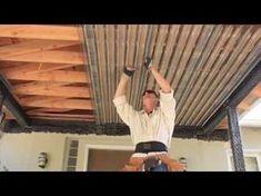 Cheap Pergola For Sale Patio Ceiling Ideas, Under Deck Ceiling, Porch Ceiling, Metal Ceiling, Under Deck Roofing, Patio Under Decks, Deck Construction, House Deck, Deck Plans
