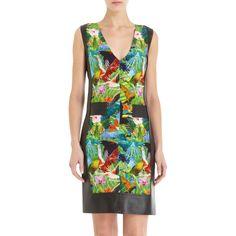 Altuzarra Tropical Bird Print V- Neck Dress
