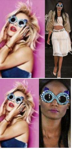 Rita Ora's Mercura Sunnies; as in NYFW Sept 2014 Fashion Show (52 photos) ModaBox features Mercura Same Mercura NYC blue crystal round frames: Rita Ora wears in Cosmopolitan Magazine cover story December 2014 styled by Ayae Kana, photo by Matthias Vriens-McGrath