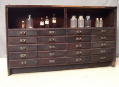 yes yes and YES!!!!! Large Vintage Wood Cabinet with 20 Drawers and Shelf / Drygoods Counter / Drugstore Counter / Apothecary