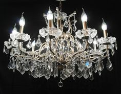 French Antiqued Silver 12 Branch Arm Shallow Cut Glass Chandelier http://www.la-maison-chic.co.uk/Item/Shallow_Silver_12_Branch_Chandelier