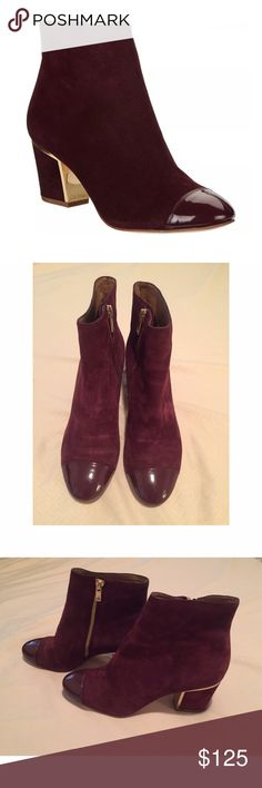 Calvin Klein Kristi Leather Ankle Boot Dark Cherry The upper of suede or leather features a medial zipper for easy on/off, and is juxtaposed by a radiant stacked-look heel and chic gold-tone heel accent. Excellent condition! Sold out on sites. GREAT deal! ✨ Calvin Klein Shoes Heels