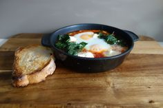 Breakfast or brunch - baked eggs with spinach and ricotta