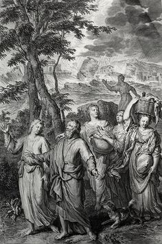 """The Phillip Medhurst Picture Torah 99. Destruction of Sodom. Genesis cap 19 vv 23, 26. Hoet on Flickr. An Illustration from """"Figures de la Bible"""", illustrated by Gerard Hoet (1648-1733) and others, and published by P. de Hondt in The Hague in 1728. A..."""