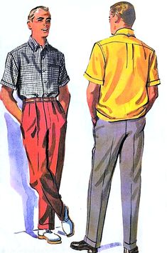 1950s SUAVE Gentlemens Shirt and Pleated Front Pants Slacks Trousers Pattern McCALLS 3995 Menswear Designer William Doniger Chest 40 Waist 36 Vintage Sewing Pattern