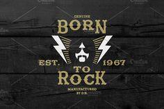 Vintage Label Born To Rock by Ezepov on @creativemarket