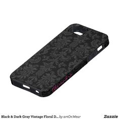 Black & Dark Gray Vintage Floral Damasks iPhone 5 Case